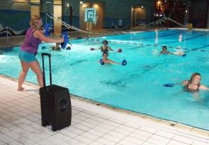 Die Musikanlage beim Aqua-Fitness-Kurs